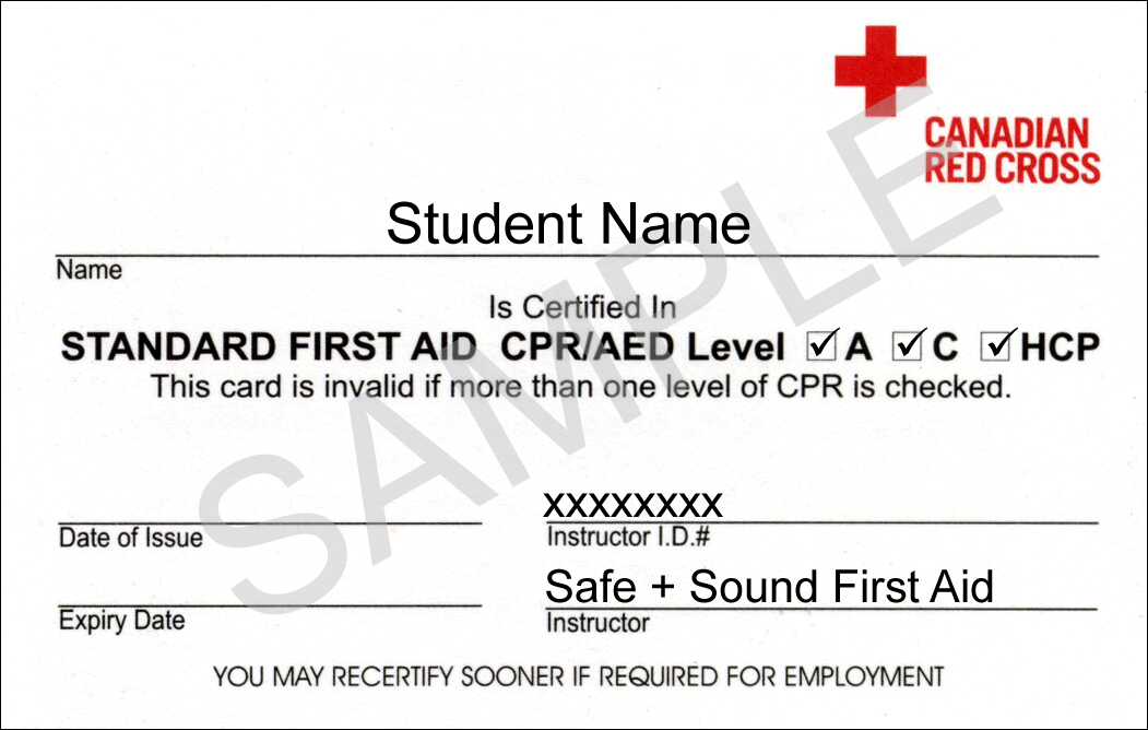 Standard first aid cpr coquitlam first aid training for First aid certificate template free