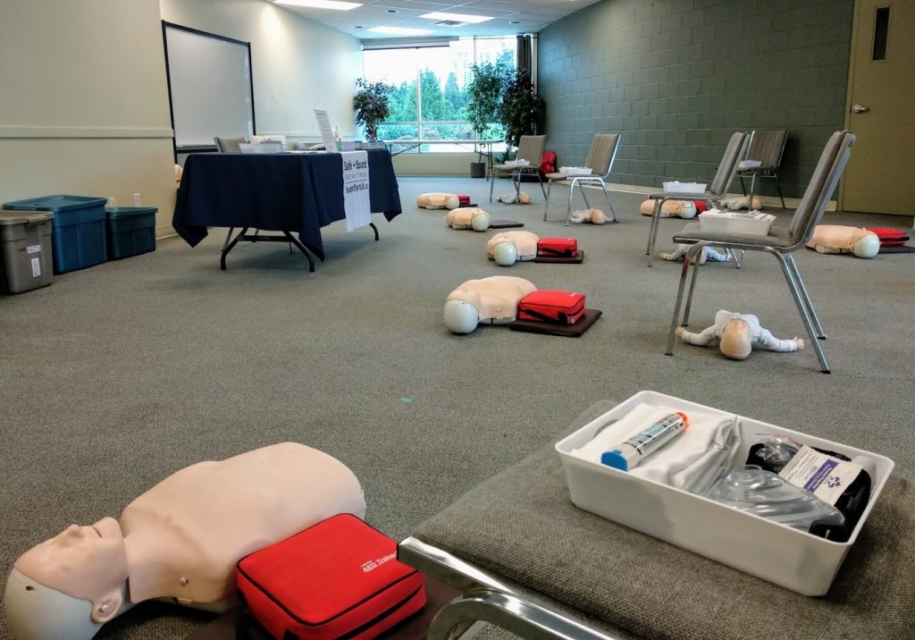First aid training classroom with physical distancing layout