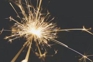 Electrical sparks on dark background